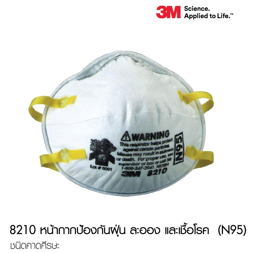 1ชิ้น หน้ากาก 3M N95 รุ่น 8210 กันฝุ่นละออง PM 2.5