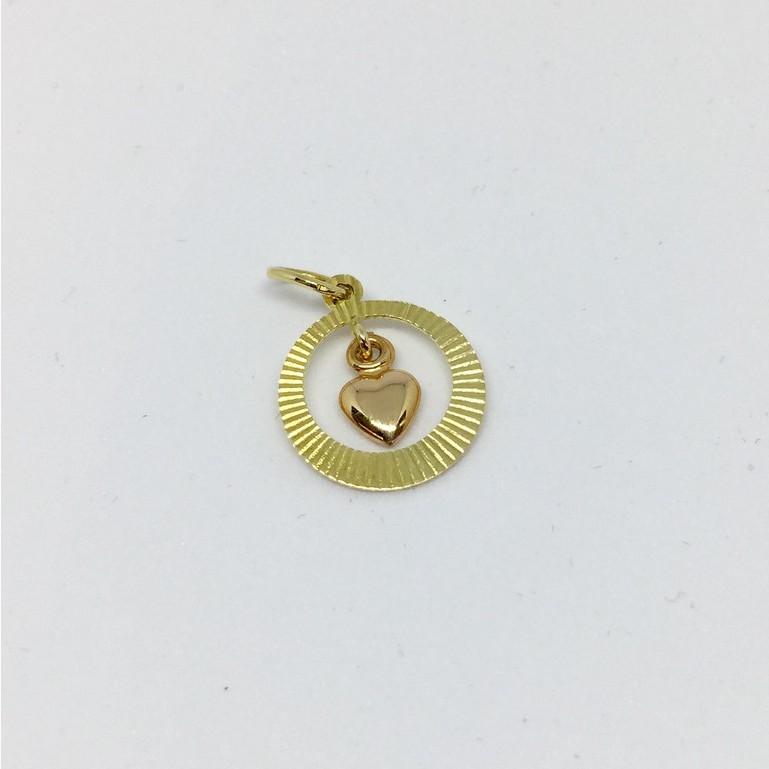 จี้ทองหัวใจ ทองแท้ 18K (ทองแท้มาตรฐาน 75.0%) จี้หัวใจ 2 สี  หนัก 0.95 กรัม (ราคาไม่รวมสร้อย) มีใบรับประกันสินค้า