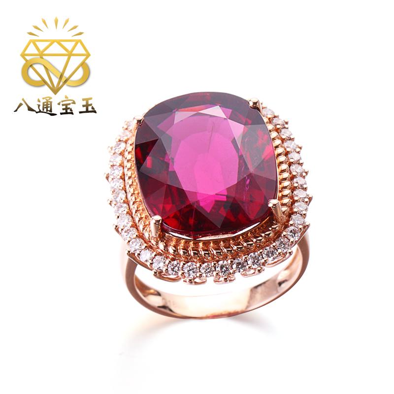 แปดอัญมณีเครื่องประดับ16.15กะรัตแหวนทัวร์มาลีนสีแดงธรรมชาติหญิง18Kเพชรทองคำฝังเครื่องประดับอัญมณีสีหญิง