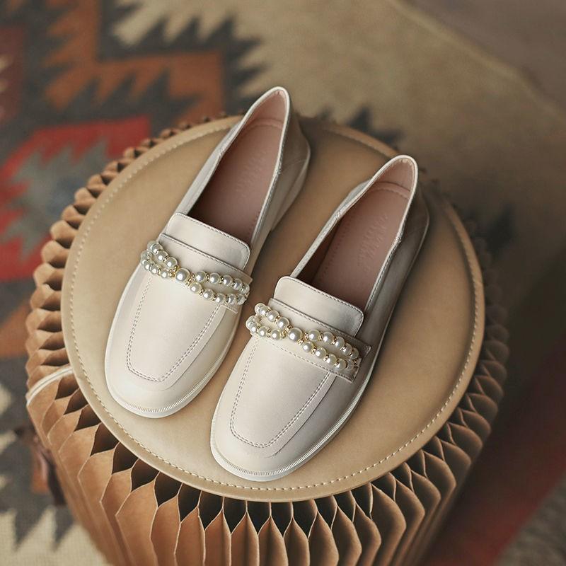 รองเท้าคัชชู รองเท้าผู้หญิง ร้องเท้า ✶รองเท้าสีบลอนด์มุกหญิงอังกฤษลมหนึ่งเหยียบ JK laofu รองเท้าสีดำ 2021 ใหม่ป่าจริงหนั