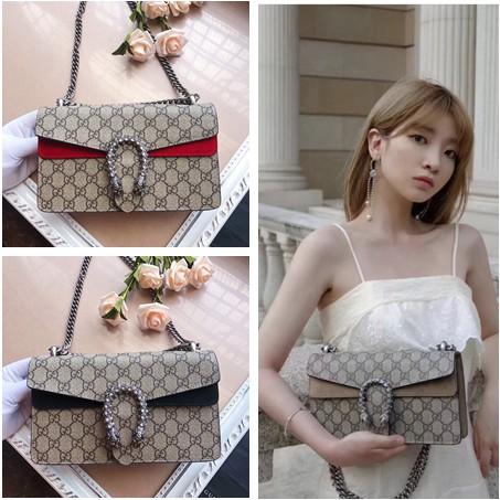 กระเป๋าสะพาย Gucci Dionysus ของแท้ 2021 ใหม่ GG พิมพ์กระเป๋าสะพายลำลองกระเป๋าสะพายโซ่ผู้หญิง