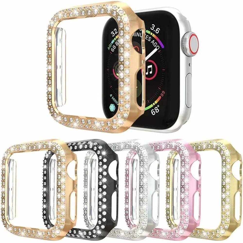 เคสนาฬิกาข้อมือ Pc ประดับเพชรสําหรับ Apple Watch Case Series 6 Se 5 4 3 Bling Bumper 40mm 44mm Shell Q12 T500 Bling