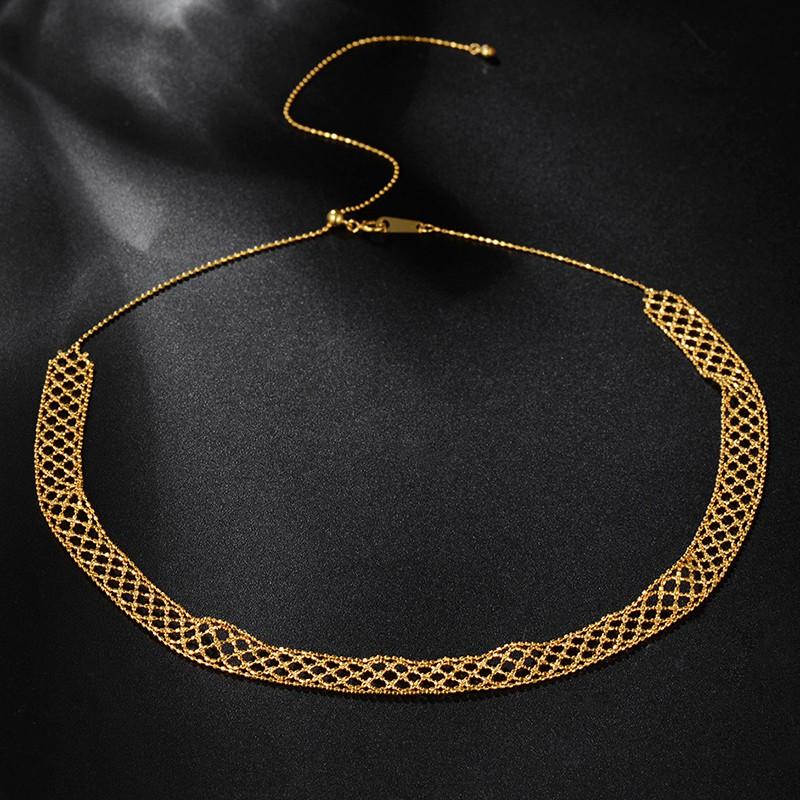 ลูกไม้ตาหมากรุกสร้อยคอทอง 18K สร้อยคอทองคำหญิงสร้อยกระดูกไหปลาร้าโรสโกลด์สีอิตาลี Seiko วินเทจหรูหรา