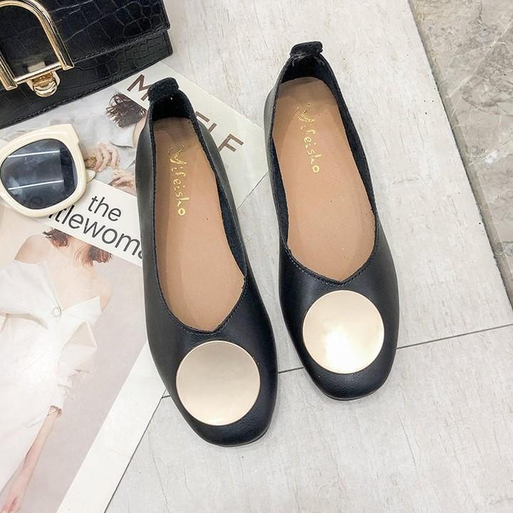 ◆▪Max รองเท้าคัชชูผู้หญิง รองเท้าส้นแบนหุ้มส้นสำหรับผู้หญิง (สีดำ) รุ่น K01