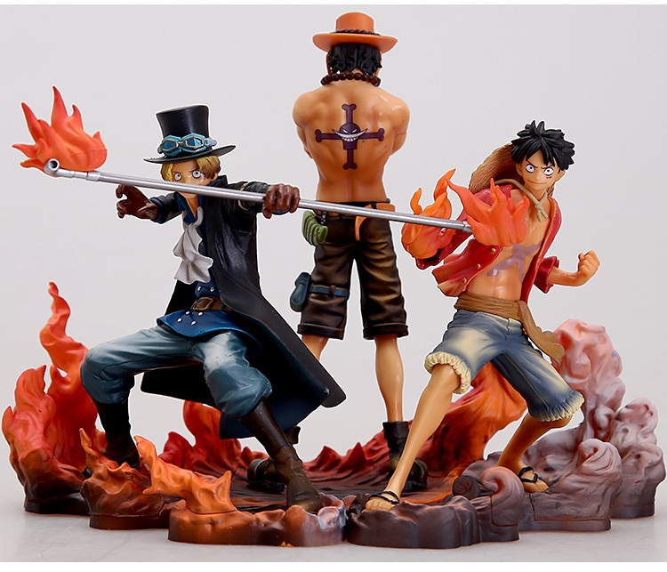 Animated Figures One Piece Tpoe Luffy Ace Saab Scene Edition Garage Kit Set Vertical Prize Figure z0Bi