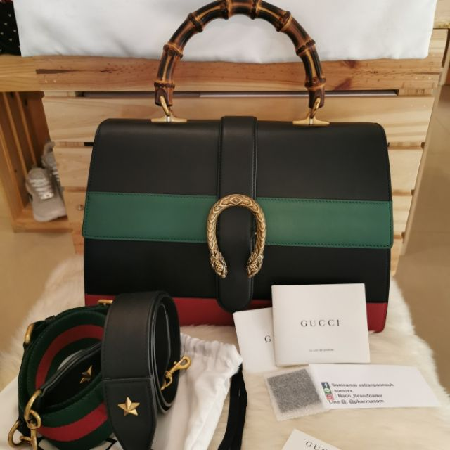 Like​ New​ Gucci​ Dionysus​ Striped​ Bamboo  Top-Handle​ Bag​