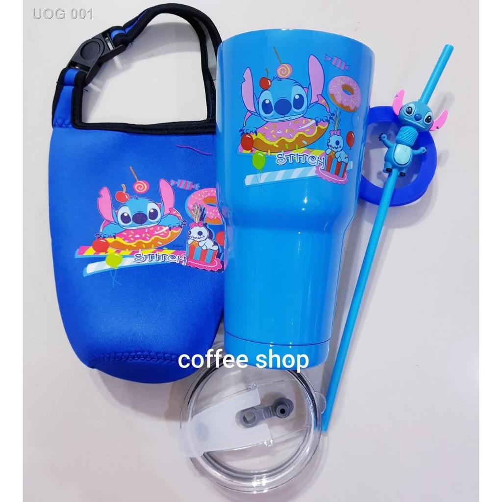 🌻สินค้าคุณภาพสูง🌻℡✒แก้วเก็บความเย็นลายสติชฟรีถุงใส่แก้ว + หลอดสติชและยางรองแก้ว
