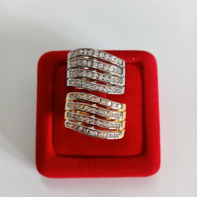 แหวน เพชร cz ฝังล็อค 4 แถว ชุบทองไมครอน และทองคำขาว ราคาพิเศษ
