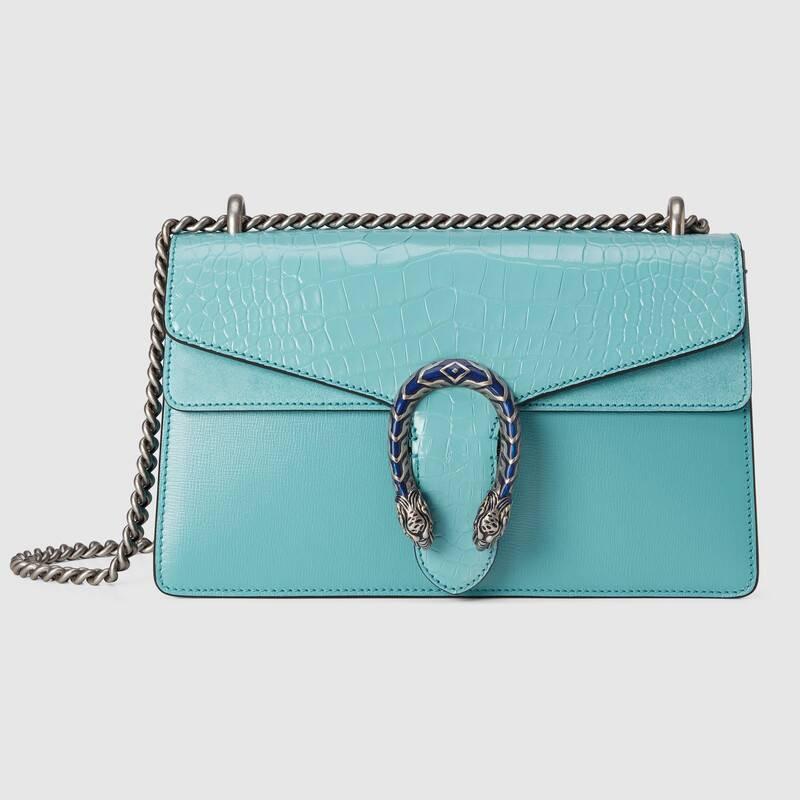 ใหม่ Gucci Dionysus series หนังจระเข้กระเป๋าสะพายใบเล็ก 28 ซม. สีฟ้าอ่อน