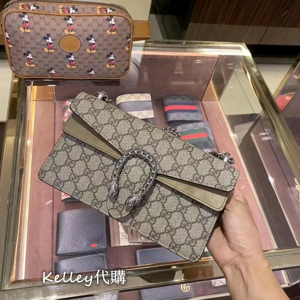 Counter ของแท้ GUCCI Gucci Dionysus GG series Supreme canvas mini chain bag Bacchus bag กระเป๋าสะพายข้าง 499623