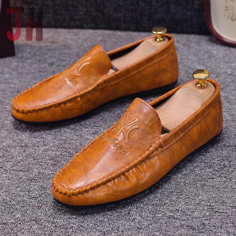 ✨JH รองเท้าโลฟเฟอร์หนัง สีดำ สำหรับผู้ชาย รองเท้าคัชชู ผู้ชาย