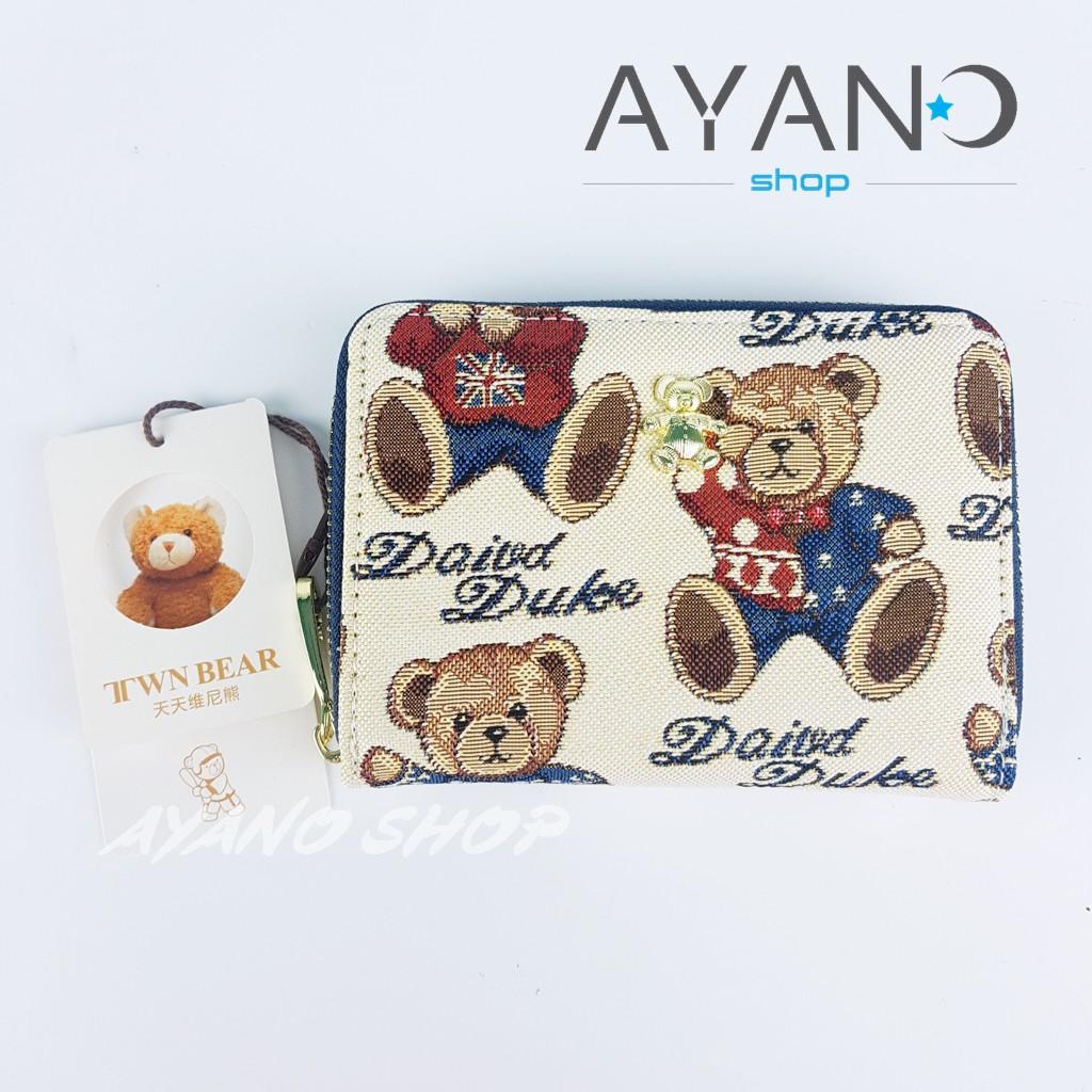 กระเป๋าสตางค์ใบกลางรุ่นซิปรอบน้องหมี Daivd Duke (TTWN BEAR) สีกรม