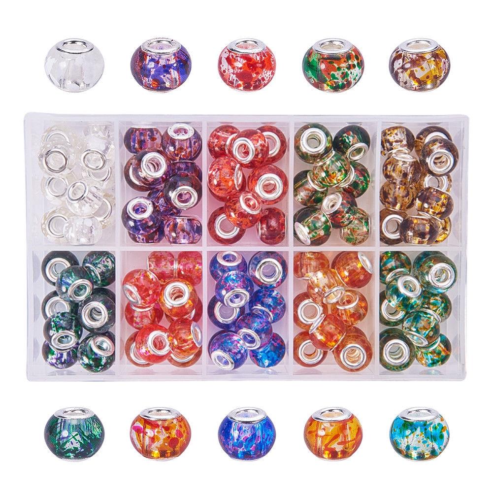 10pcs 10mm~12mm Metal Loose Spacer Europea Charm Large Hole Bracelets Beads