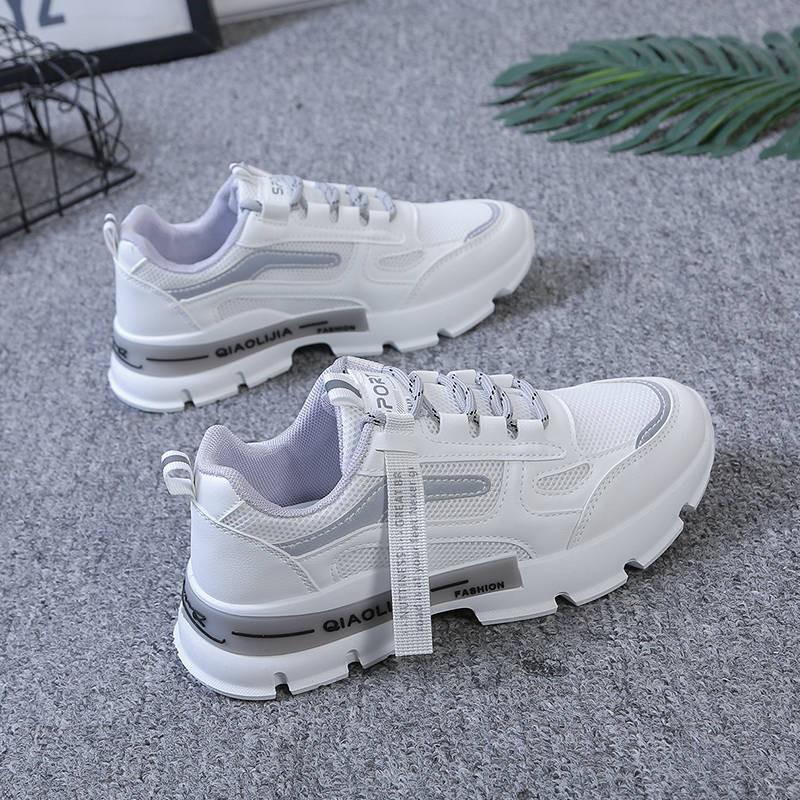 ร้องเท้า รองเท้าผู้หญิง รองเท้าคัชชู ❂Danfuqi รองเท้าเด็กสองชั้นตาข่ายรองเท้ากีฬานักเรียนหญิงเกาหลีป่าวิทยาลัยลมแบนลื่นร