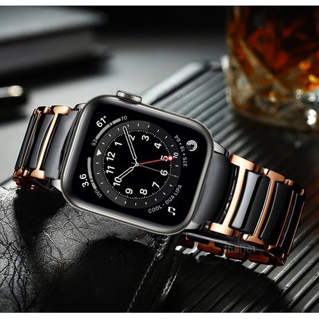 Luxury Apple Watch Straps Ceramic Stainless steel Watch Watchband for Apple Watch Series 1/2/3/4/5/6,Apple Watch SE Size 38mm, 40mm, 42mm, 44mm Applewatch Strap