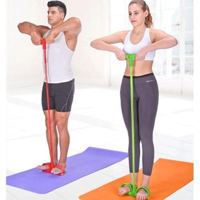 ยางยืดออกกำลังกาย แบบเท้าเหยียบ แบบ 4 เส้น ผ้ายืดออกกำลังกาย ยางยืดแรงต้าน  ยางยืดออกกำลังกายแรงต้านสูง