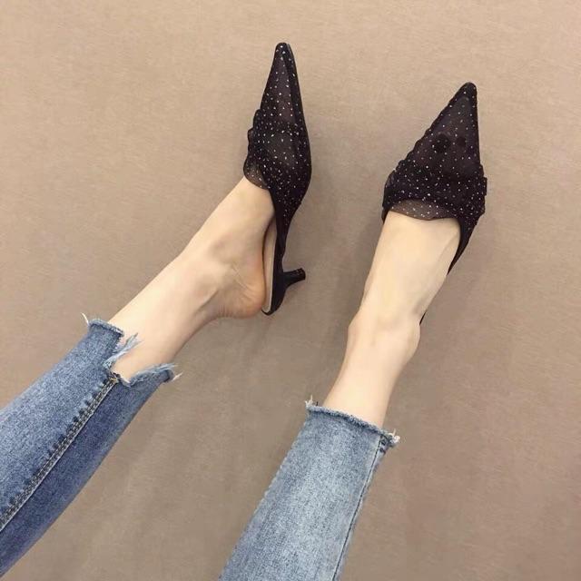 2020 รองเท้าคัชชูหัวแหลม รองเท้าแตะผู้หญิง