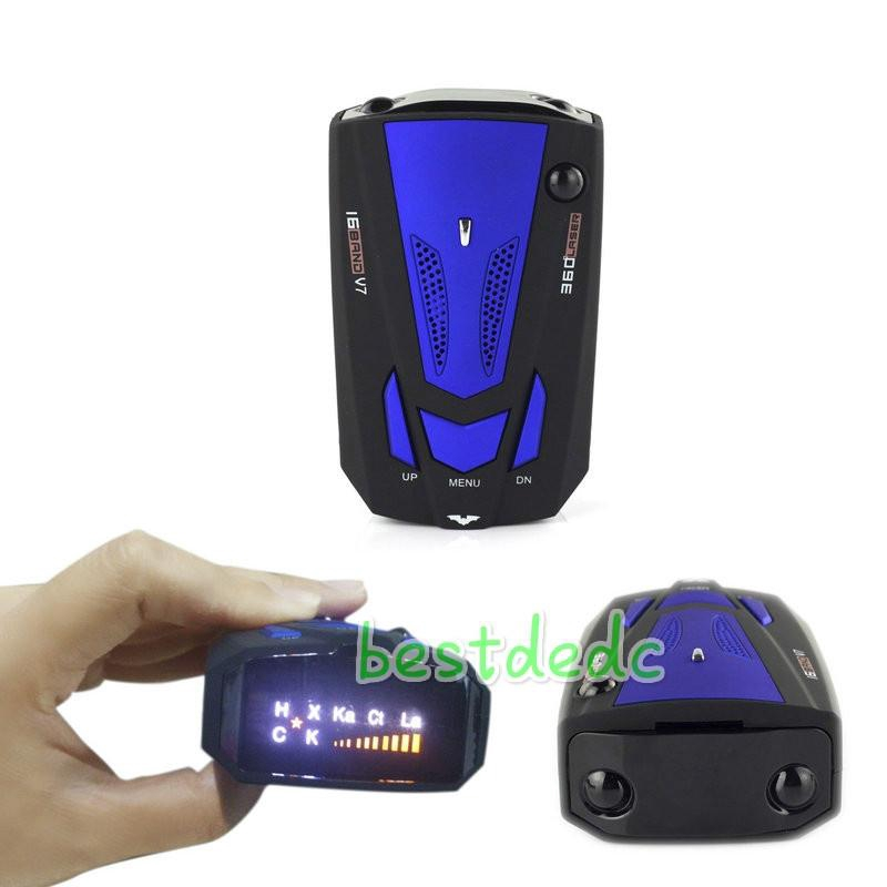 New Car Anti-Police GPS Radar Detector Voice Alert Laser V7 LED Blue HOT