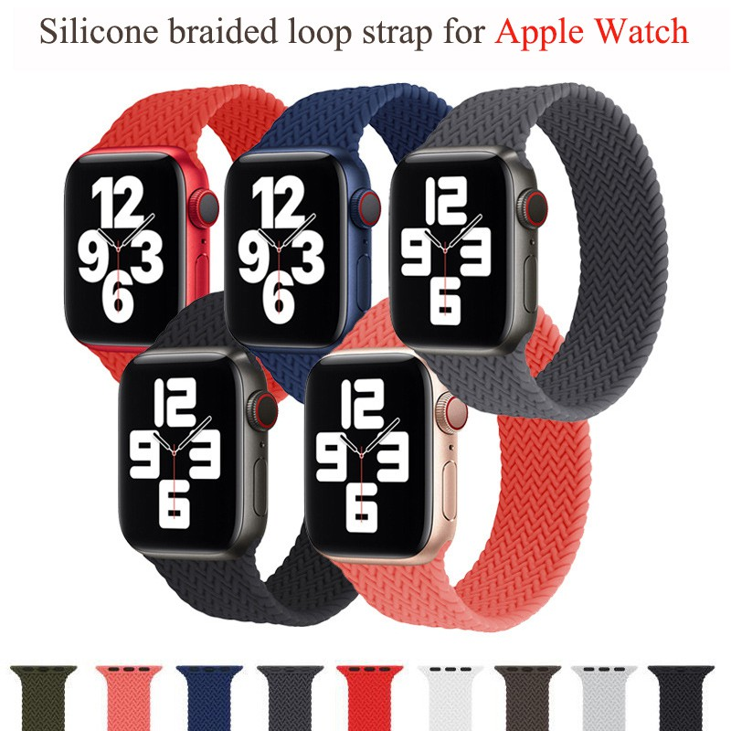 Braided Solo Loop ซิลิโคนสำหรับ Apple Watch Band 44 มม. 40 มม. 38 มม. 42 มม. สำหรับ Apple Watch Series 6 SE 5 4 3 2 1