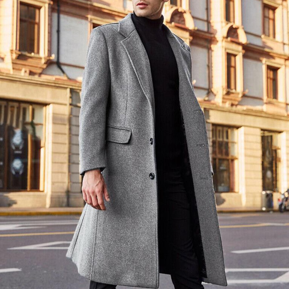 Details about  /Men/'s Plaid Winter Blazer Trench Coat Long Jacket Lapel Business Slim Outwear