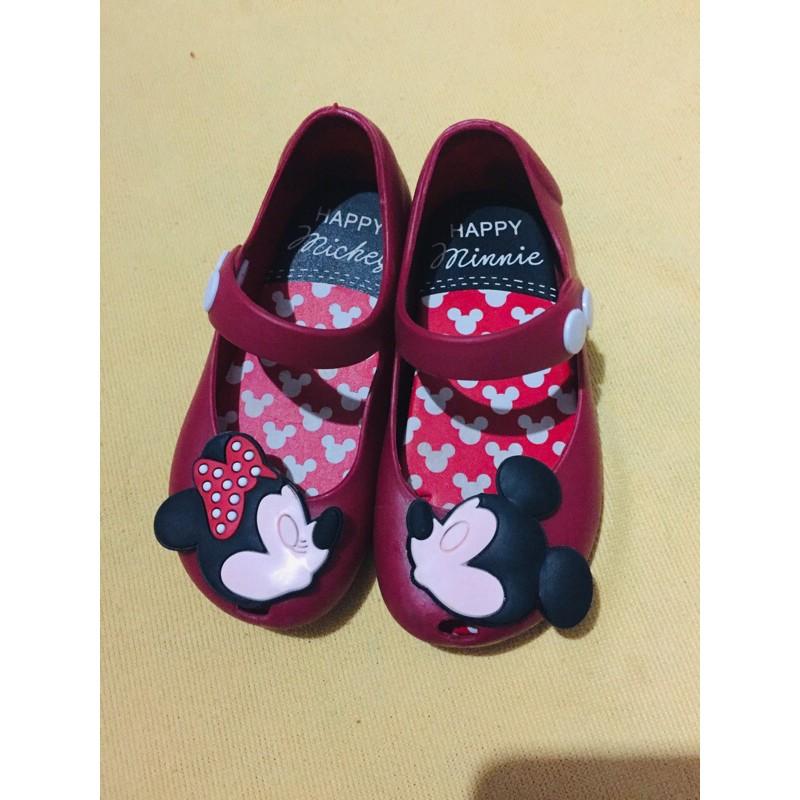 รองเท้าเด็ก สำหรับเด็กผู้หญิง รองเท้ายางคัชชู หนังนิ่ม สภาพมือสอง ขนาดประมาณ 15 ซม.