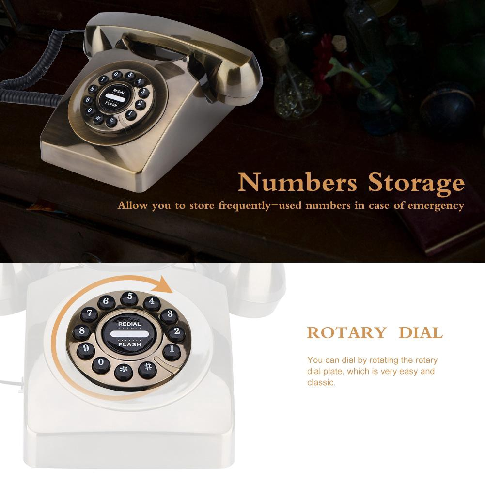 1Pc Red Bronze Vintage Antique Telephone Numbers Storage Rotary Dial Retro Phone