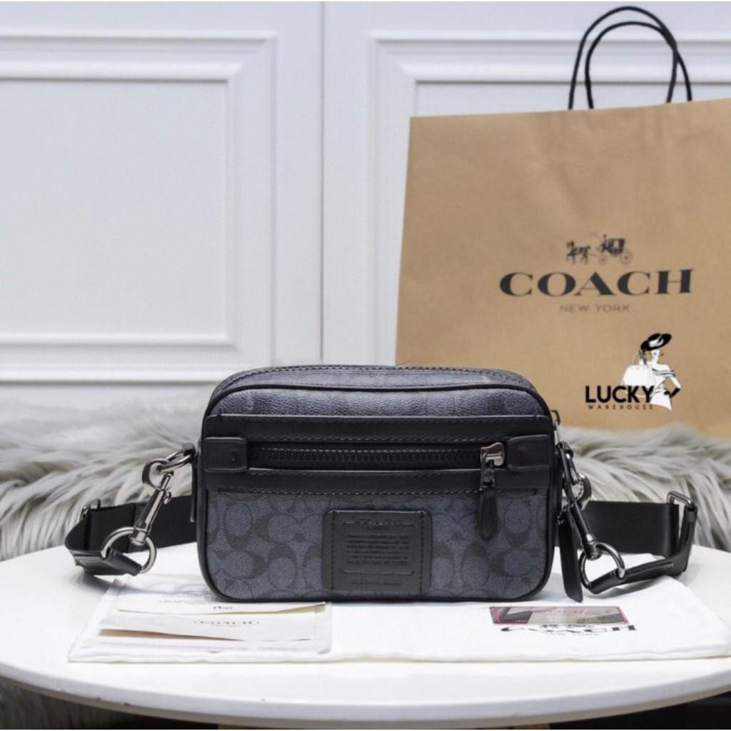 Coach Academy กระเป๋าสะพายข้างผ้าแคนวาส 100%