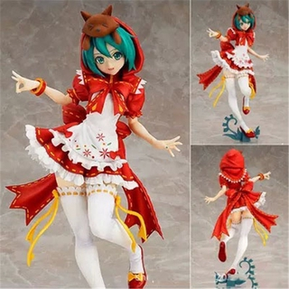 Bandai 22Cm Miku Princess Models Red Blue Hat Hatsune Dolls Sexy Sweet Singer Christmas Toys Japaneses Anime Figure Pvc