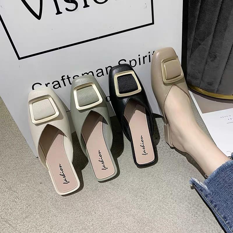 💕รองเท้าผู้หญิง รองเท้าส้นหนังหัวแหลม รองเท้าคัชชู ส้นเตี้ย รองเท้าแฟชั่น