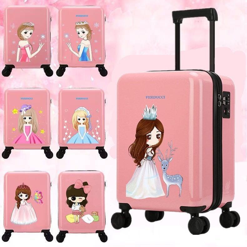 ✗☢▪กระเป๋าเดินทางสำหรับเด็กเกาหลี, กระเป๋าเดินทางสำหรับเด็กผู้หญิง, กระเป๋าเดินทางเจ้าหญิง, สามารถติดล้อเลื่อน, นักเรีย