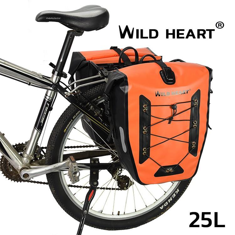กระเป๋าทัวริ่ง  กระเป๋าจักรยาน กันน้ำ 2 ใบ  (สีส้มแสด)  เคลือบ PVC 2 ชั้น   หนา ทน เหนียว เทคโนโลยีผสานรอยต่อ