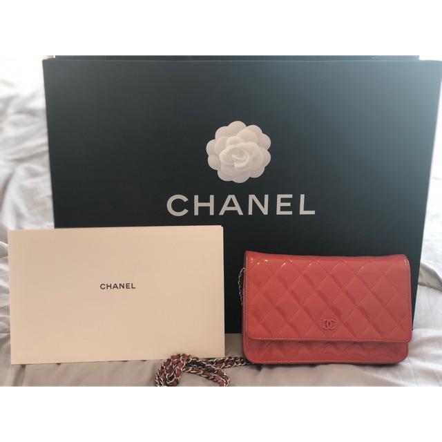 Chanel woc หนังแก้วสีส้ม ของแท้มือสอง