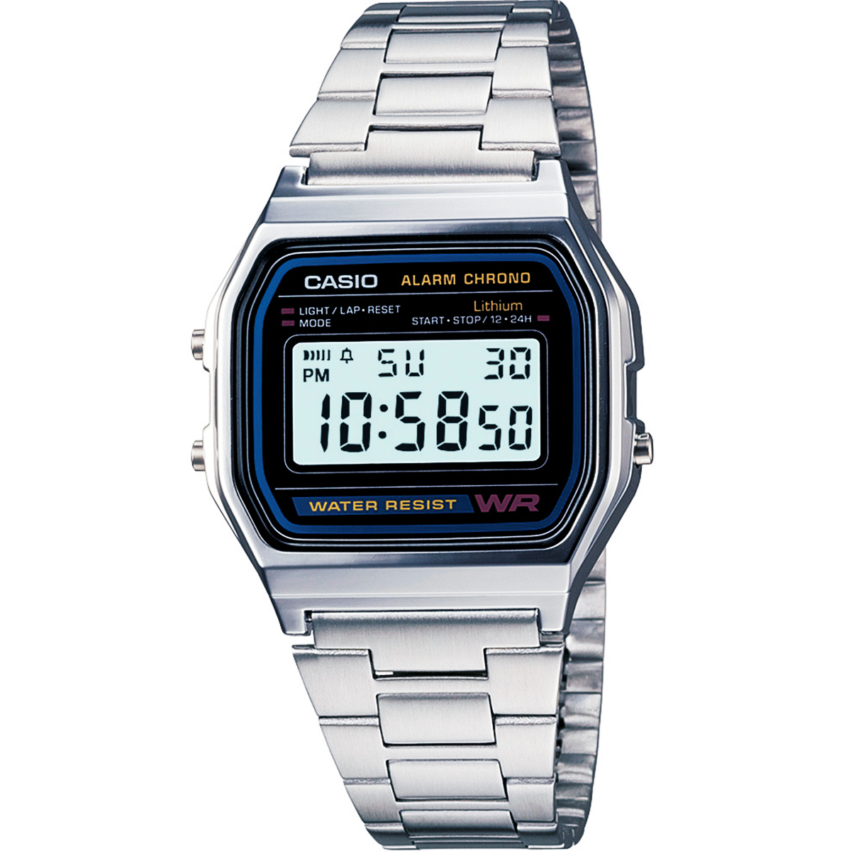 (จุดด่างพร้อย)Casio Digital นาฬิกาข้อมือ สีเงิน สายสแตนเลส รุ่น A158WA-1 ของแท้ ประกัน CMG