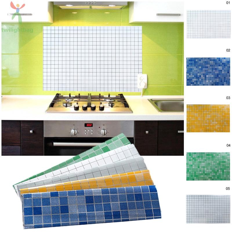 Resistant Wall Sticker Mosaic Anti Oil Cupboard Kitchen Tile Paper Decor Durable