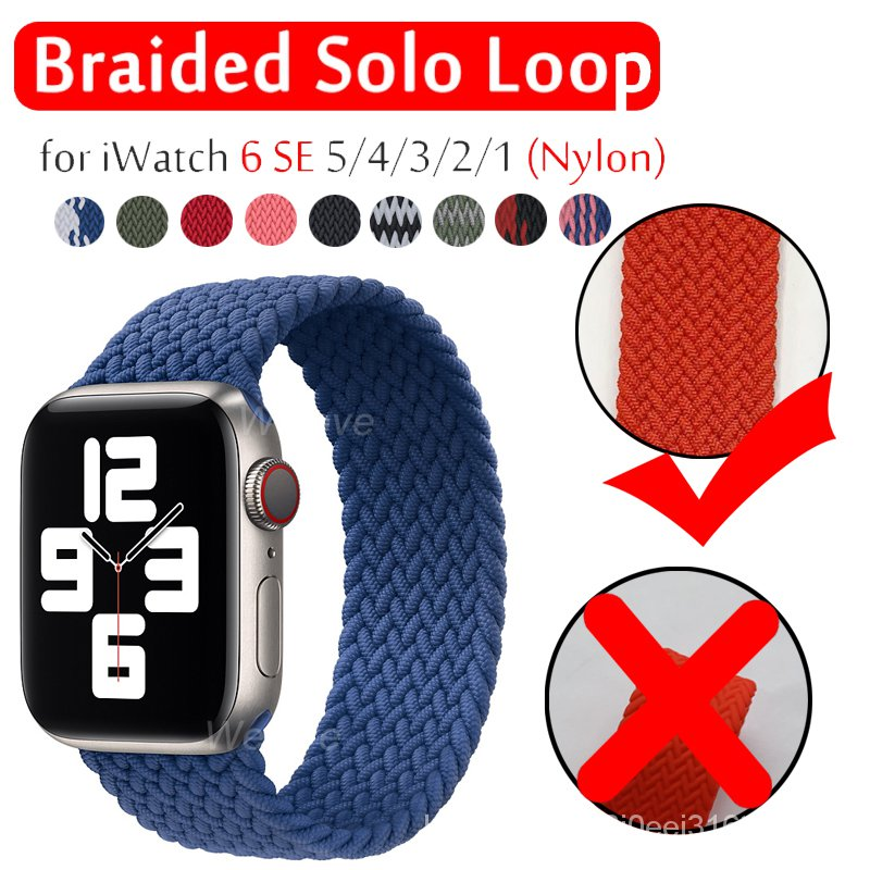 Fabric Braided Solo Loop Nylon Strap For Apple Watch SE 6 Band 44mm 40mm 38mm 42mm Elastic Bracelet for iWatch Series 5