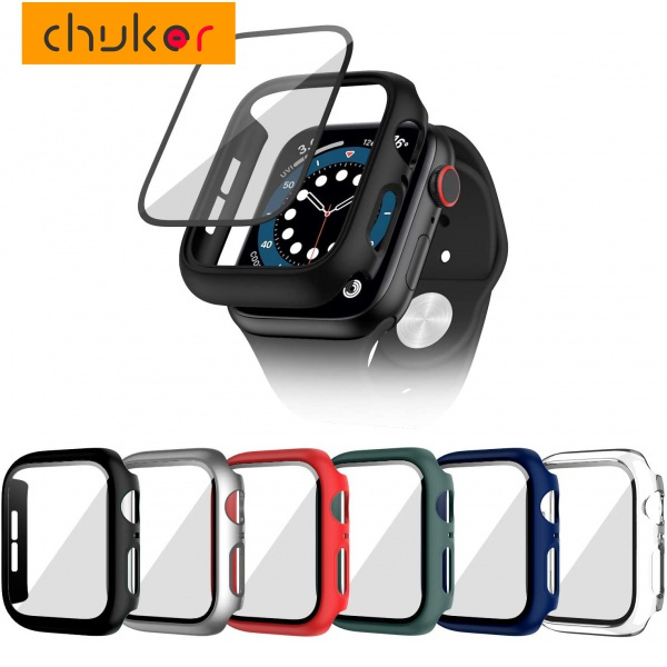 CHUKER Watch case + tempered film Compatible Apple watch Case 44mm 42mm 40mm 38mm Glass protective shell for iwatch 6 5 4 3 2 1 SE case