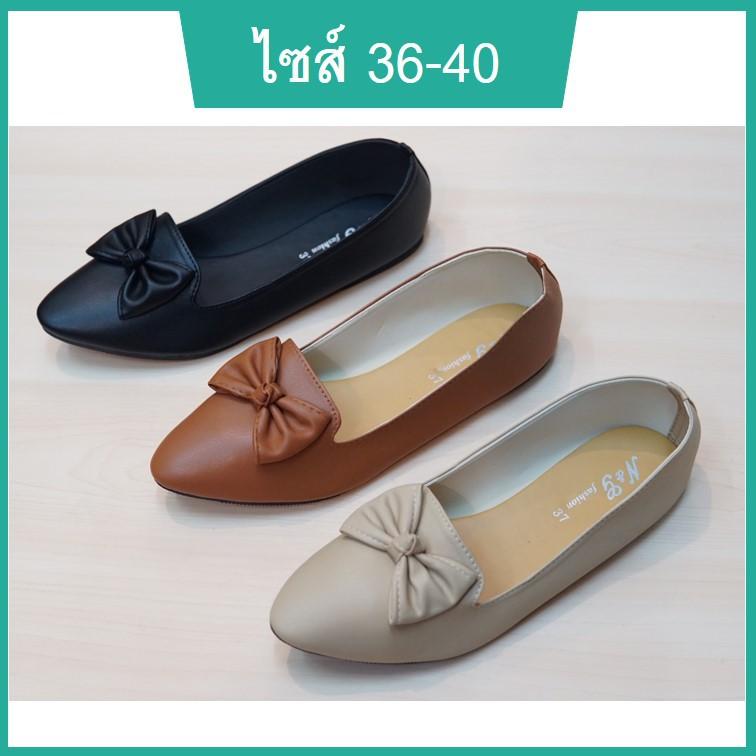 รองเท้าคัชชูผู้หญิง รองเท้านักศึกษาหญิง รองเท้าหุ้มส้นหญิง หัวแหลม พื้นเตี้ย มีโบว์ หนังนิ่ม สีดำ ครีม น้ำตาล ไซส์ 36-40