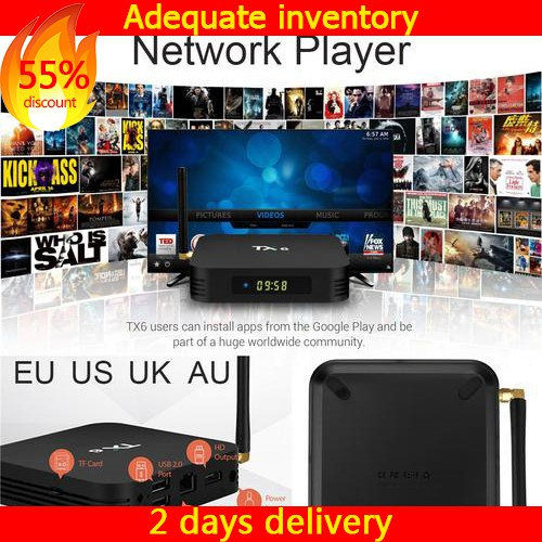 กล่องทีวี TX 6 Android 7.1 Network Player 4G + 32 GB Bluetooth 4.1 Dual Band WiFi TV Box