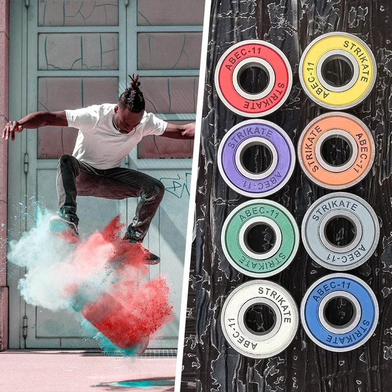 8pcs 608 ABEC-11 Bearings High Roller Skate Scooter Skateboard Wheel Green