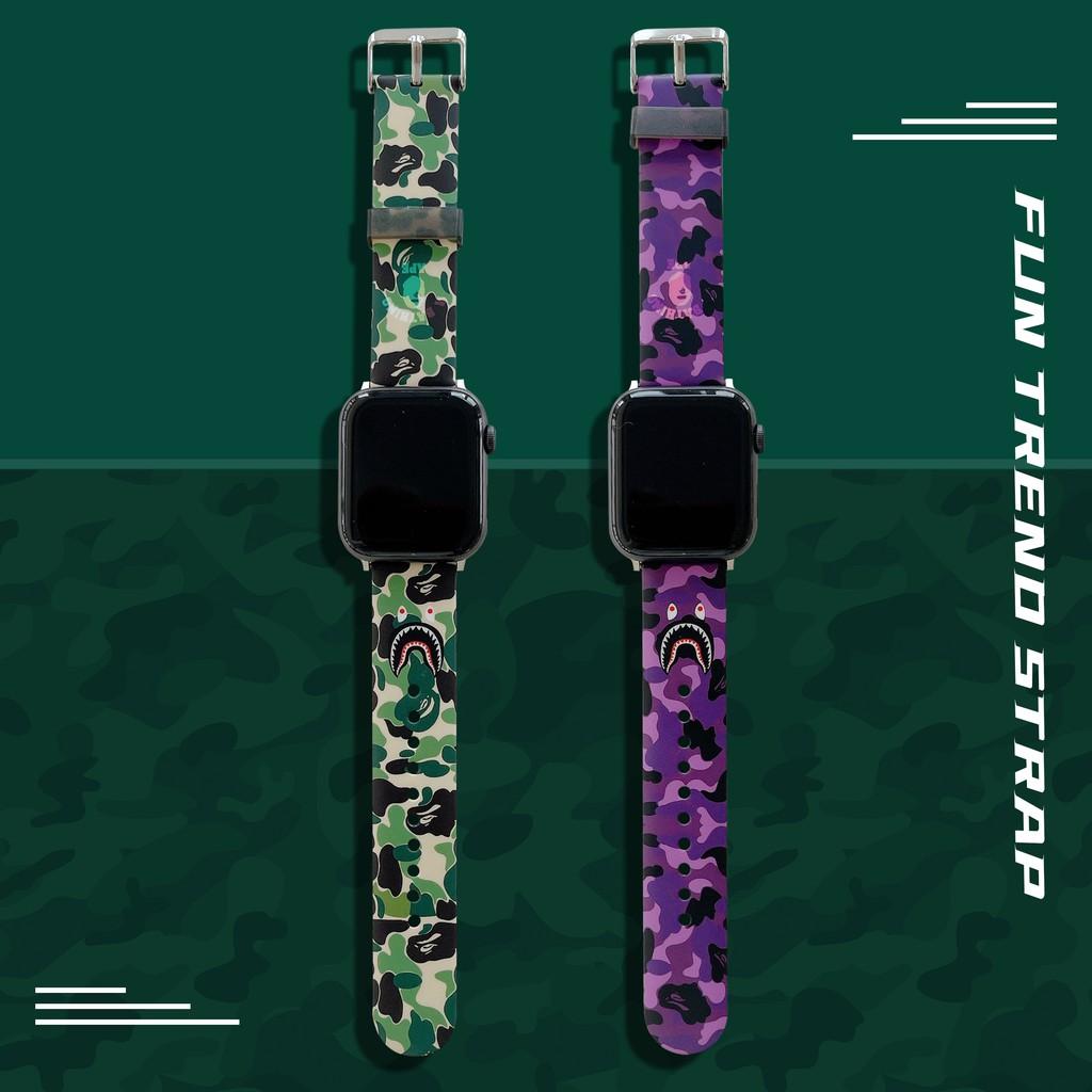 ใหม่ APE ลายพราง apple watch strap สายยางนุ่ม iwatch series SE 6 5 4 3 2 1  สาย applewatch 38 40 42 44mm