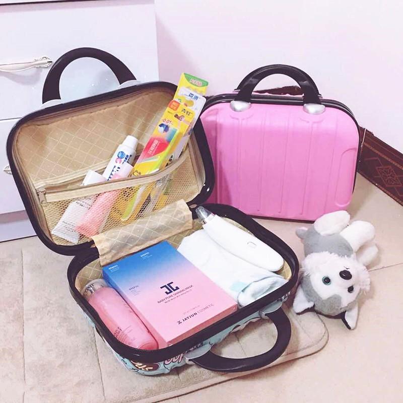☫มัลติฟังก์ชั่กระเป๋าเครื่องสำอางกันน้ำ 14 นิ้วกระเป๋าเดินทางขนาดเล็ก 16 นิ้วกระเป๋าเครื่องสำอางเดินทางกระเป๋าเดินทางมิ