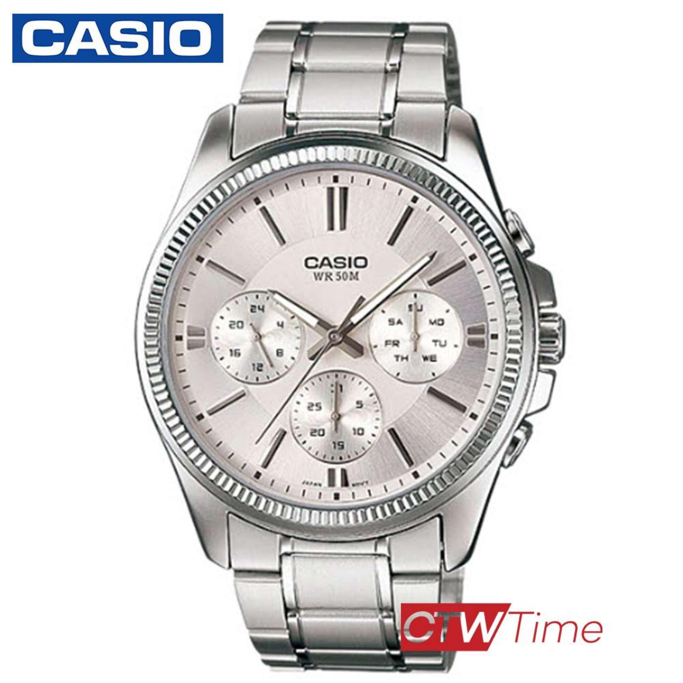ส่งฟรี !! Casio Standard นาฬิกาข้อมือผู้ชาย สายสแตนเลส รุ่น MTP-1375D-7AVDF (Silver/White) xR6Y