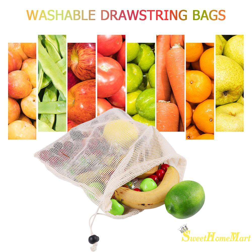 9Pcs Reusable Mesh Produce Shopping Eco Bags Grocery Fruit Vegetable Storage NEW