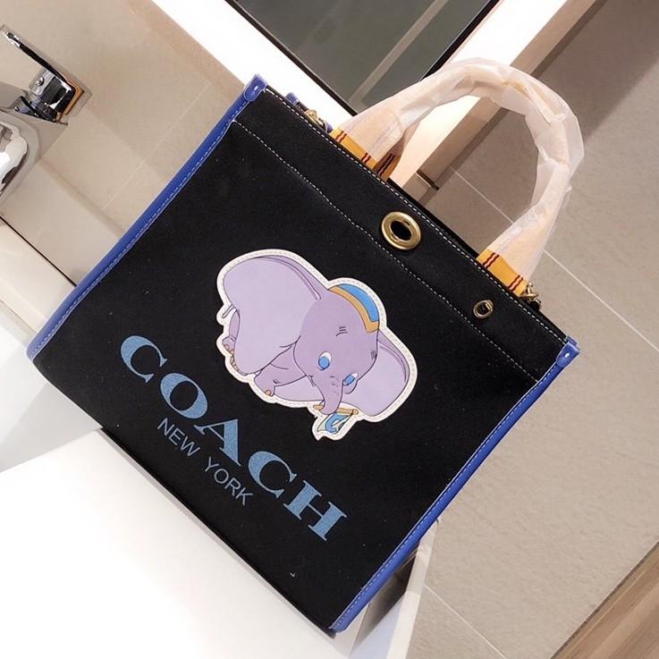 กระเป๋า Coach🐘Disney กระเป๋าผ้าแคนวาส ช้าง shopping bag tote bag กระเป๋าสะพาย