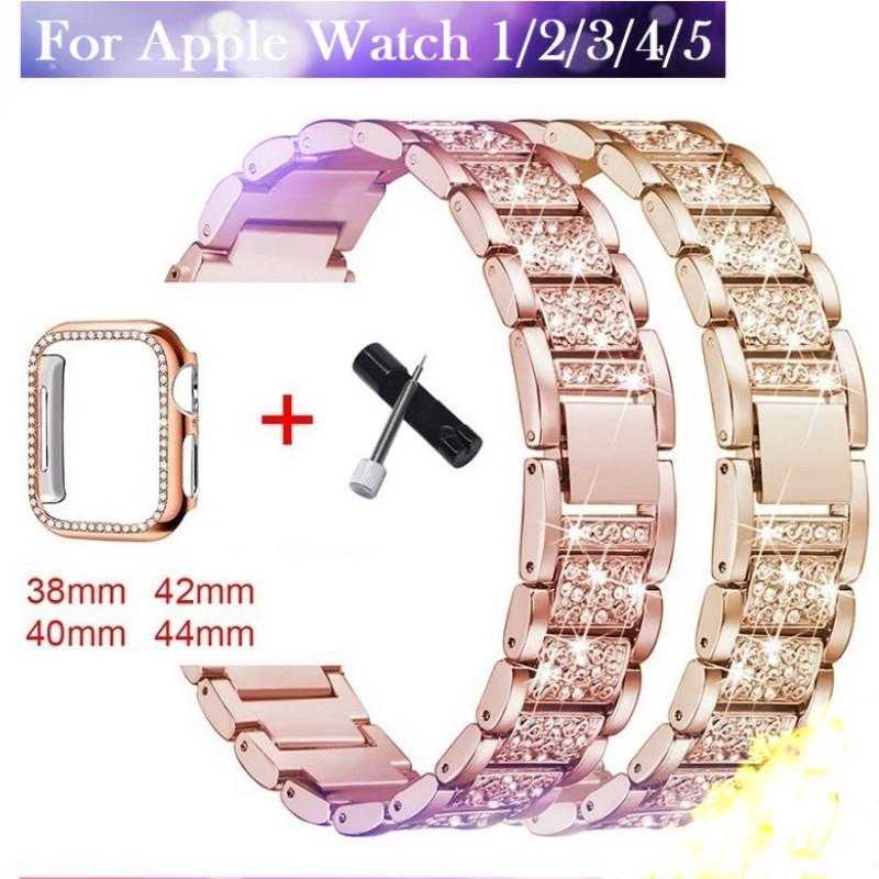 Apple Watch Strap +Diamond Stainless Steel Watchband Apple watch series 6 5 4 3 2 1   Apple Watch SE Case Bracelet size 38mm 40mm 42mm 44mm