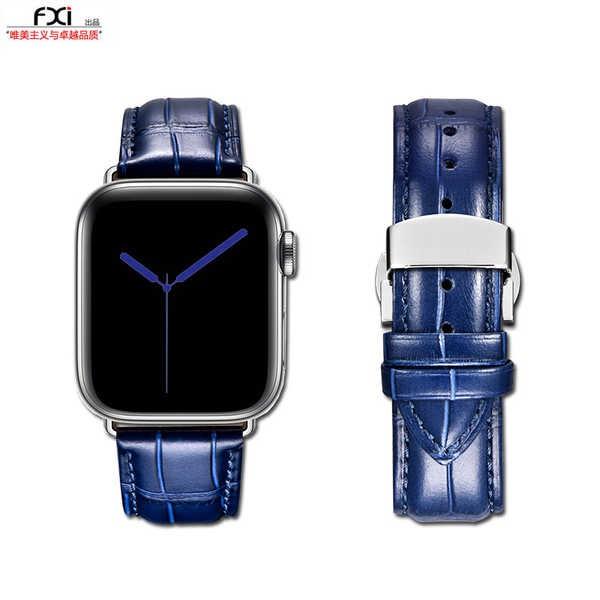 สาย applewatch fxi ลายจระเข้สีฟ้าชั้นแรกหนัง cowhide สาย apple หญิงและชายสาย iwatch สาย applewatch หัวเข็มขัดผีเสื้อสแตน