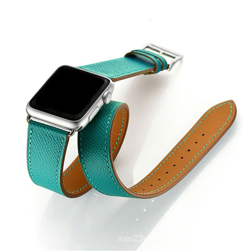 Cow Leather Double Tour strap For Apple Watch 5 band 44mm iwatch Series 4 3 2 1 42mm loop 38mm bracelet Replacement 40mm