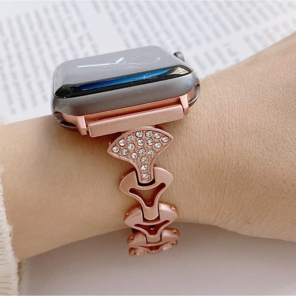 สายนาฬิกา Apple Watch Straps Diamonds Bling เหล็กกล้าไร้สนิม สาย Applewatch Series 6 5 4 3 2 1, Apple Watch SE Stainless