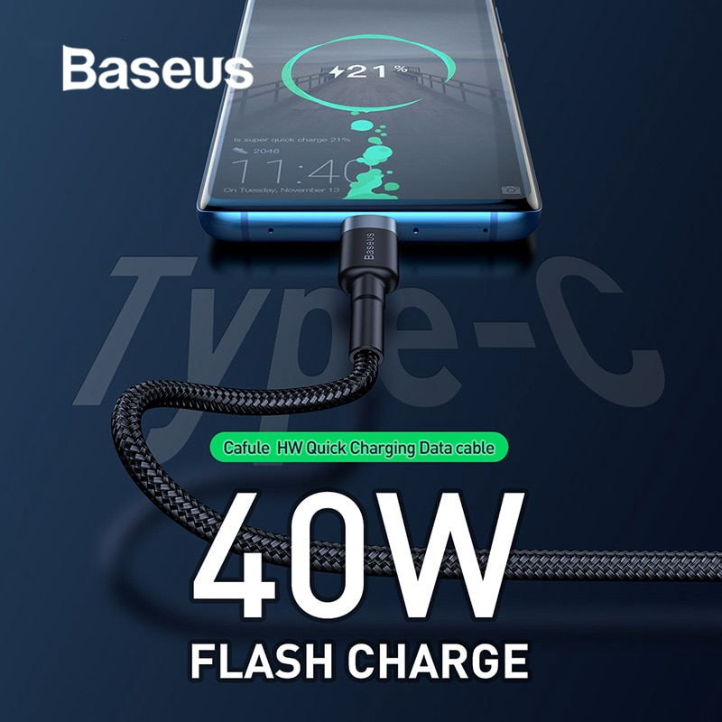 Baseus 40W Flash Charge USB Type C Cable 5A Quick Charge for Huawei P30 Mate20 Pro Compatible 2A Fast Charging for USB-C