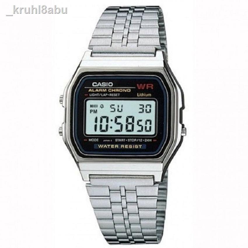นาฬิกาข้อมือสุภาพสตรี✈✲✟Casio นาฬิกาข้อมือผู้ชาย สายสแตนเลส รุ่น A159WA-N1D - สีเงิน11